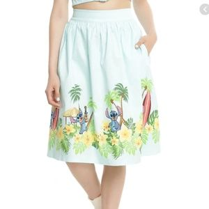 Lilo & Stitch Surf Border Pinup Skirt with Pockets